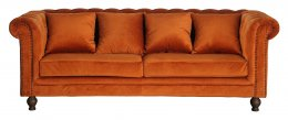Mellie 3-sits Chesterfield soffa Rost sammet