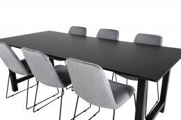Count Dining Table - 220*100*H75 - Black / Black+Muce Dining Chair - Black Legs - Grey Velvet_6